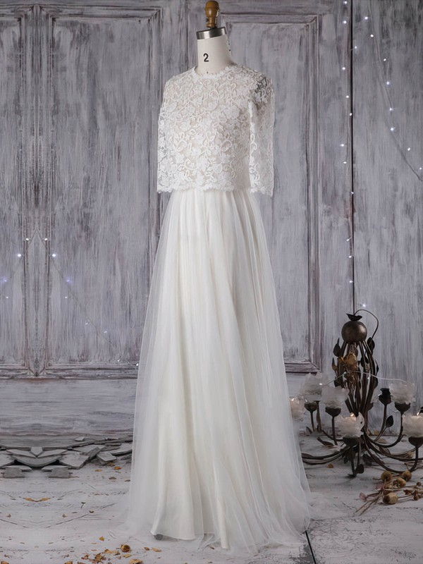 Lace Tulle A-line Scoop Neck Sweep Train with Pearl Detailing Wedding Dresses #DOB00022965