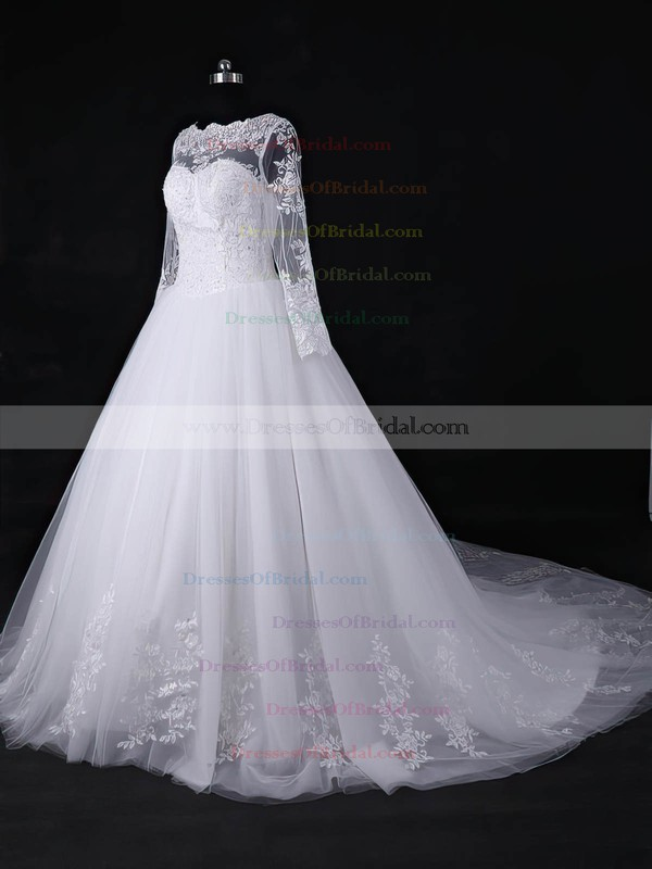 Tulle Ball Gown Scalloped Neck Court Train with Appliques Lace Wedding Dresses #DOB00022967