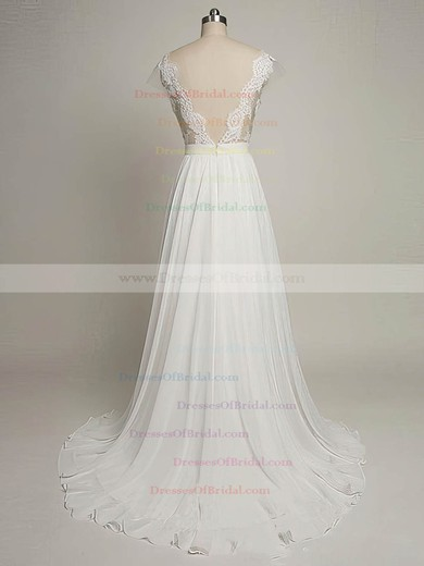 Tulle Chiffon A-line Scoop Neck Sweep Train with Appliques Lace Wedding Dresses #DOB00022968