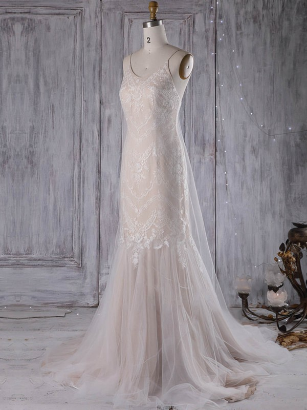 Lace Tulle Trumpet/Mermaid V-neck Sweep Train with Ruffles Wedding Dresses #DOB00022970