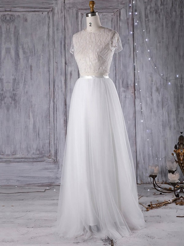 Tulle A-line Scoop Neck Floor-length with Sashes / Ribbons Wedding Dresses #DOB00022971