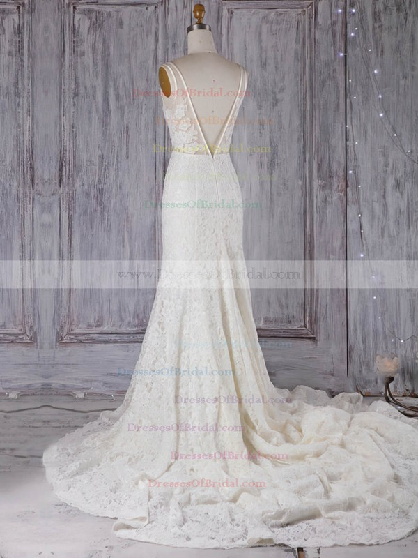 Lace Tulle Trumpet/Mermaid V-neck Court Train with Appliques Lace Wedding Dresses #DOB00022972