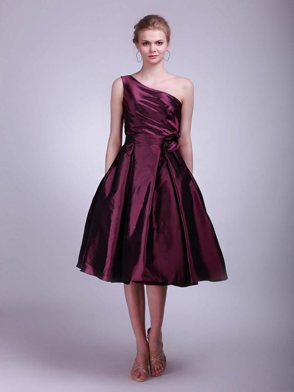 One Shoulder A-line Tea-length Taffeta Flower(s) Bridesmaid Dresses #DOB02013611