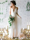 Tulle A-line V-neck Sweep Train with Sashes / Ribbons Wedding Dresses #DOB00022975