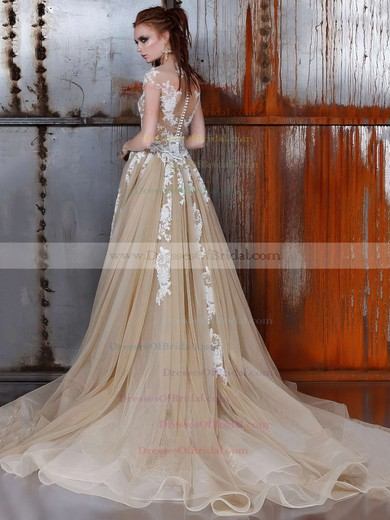 Tulle Trumpet/Mermaid Scoop Neck Detachable with Appliques Lace Wedding Dresses #DOB00022976