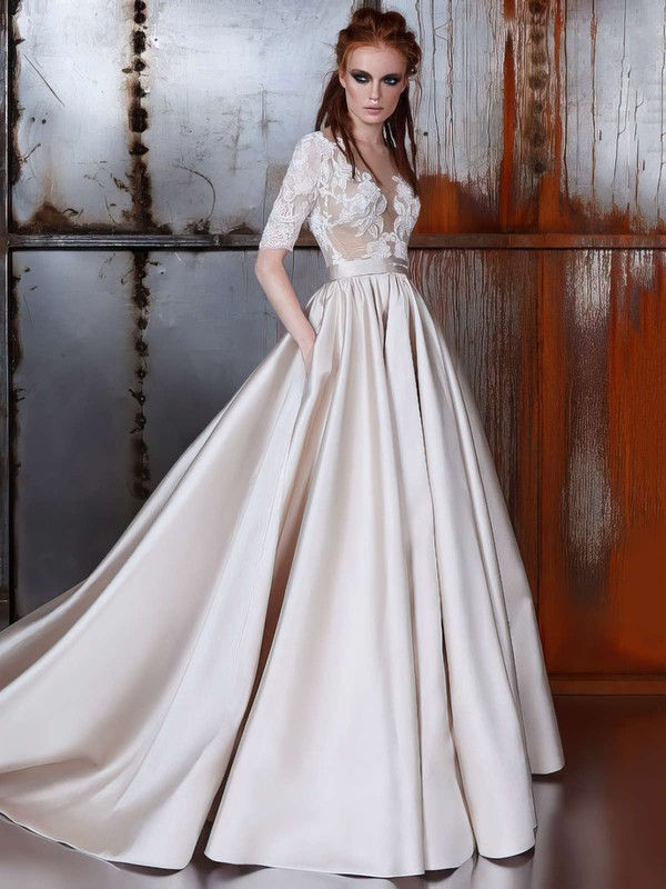 Satin Tulle Ball Gown Scoop Neck Court Train with Sashes / Ribbons Wedding Dresses #DOB00022977