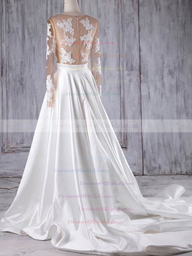 Satin Tulle Princess Scoop Neck Court Train with Appliques Lace Wedding Dresses #DOB00022978