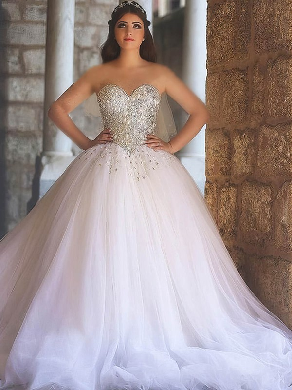 Tulle Ball Gown Sweetheart Court Train with Crystal Detailing Wedding Dresses #DOB00022979