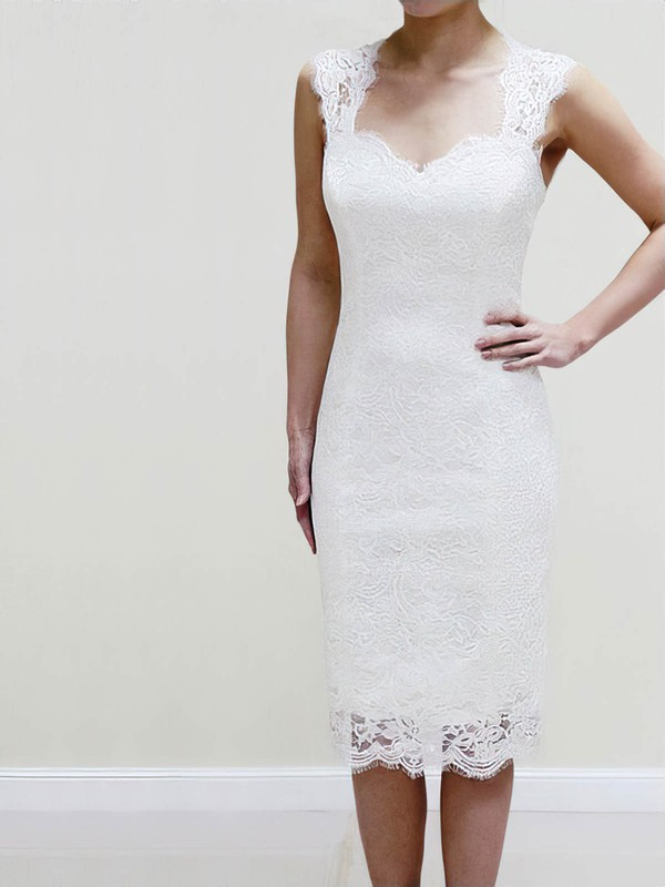 Lace Sheath/Column Sweetheart Short/Mini with Ruffles Wedding Dresses #DOB00022980
