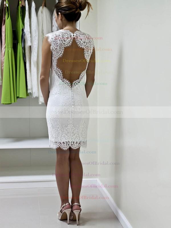 Lace Sheath/Column Sweetheart Short/Mini with Ruffles Wedding Dresses #DOB00022980