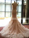 Tulle Trumpet/Mermaid Sweetheart Court Train with Appliques Lace Wedding Dresses #DOB00022981
