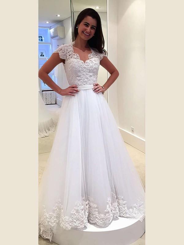 Tulle Princess V-neck Sweep Train with Sashes / Ribbons Wedding Dresses #DOB00022982