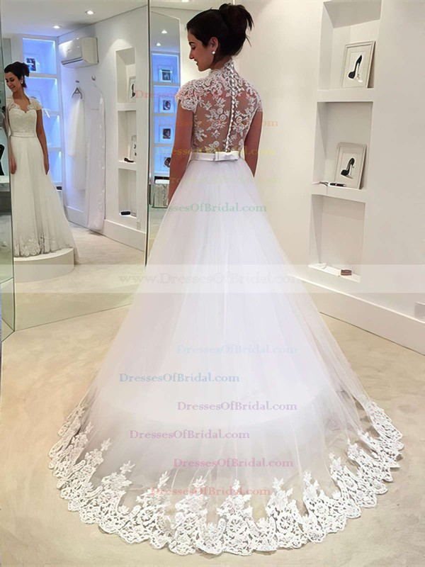 Tulle Princess V-neck Sweep Train with Sashes / Ribbons Wedding Dresses #DOB00022982