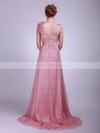 High Neck A-line Floor-length Chiffon Flower(s) Bridesmaid Dresses #DOB02013612