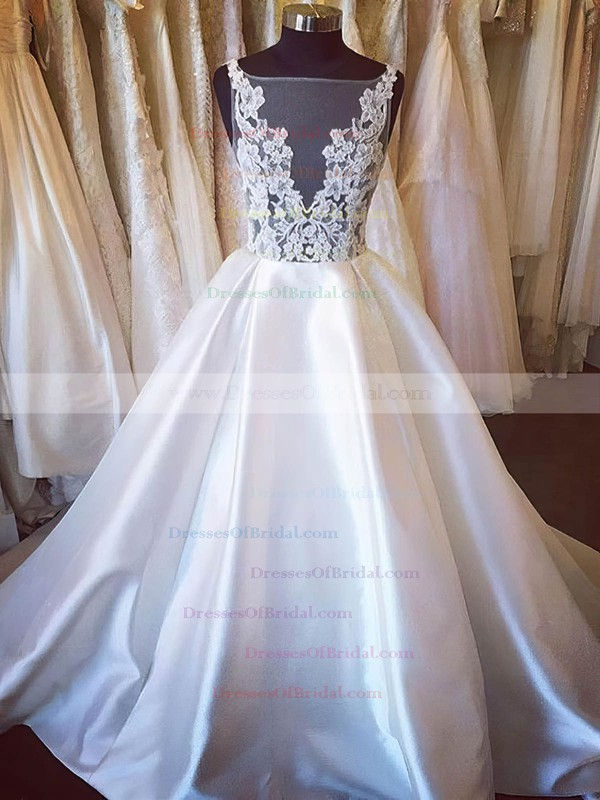 Satin Tulle Ball Gown Scoop Neck Sweep Train with Appliques Lace Wedding Dresses #DOB00022984