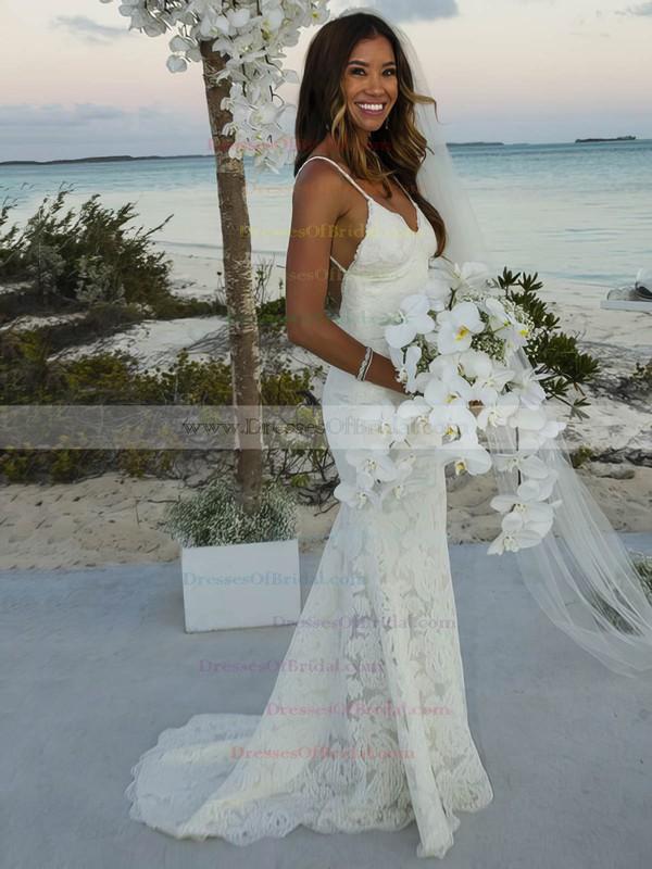 Lace Trumpet/Mermaid V-neck Sweep Train with Ruffles Wedding Dresses #DOB00022986