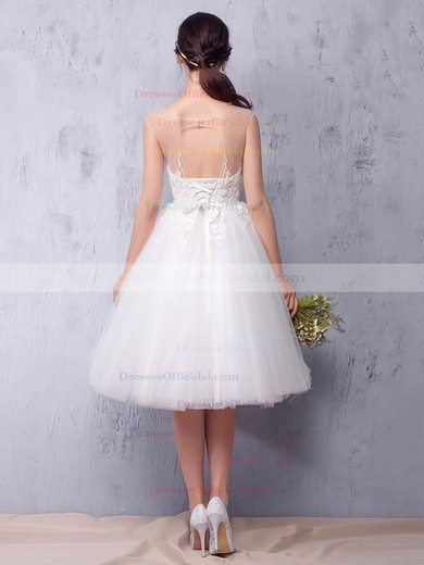Tulle Princess Scoop Neck Knee-length with Sashes / Ribbons Wedding Dresses #DOB00022987