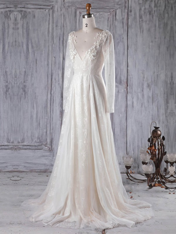 Lace Tulle A-line Scoop Neck Sweep Train with Appliques Lace Wedding Dresses #DOB00022989