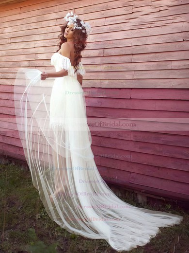 Tulle Lace Sheath/Column Off-the-shoulder Asymmetrical with Ruffles Wedding Dresses #DOB00022991