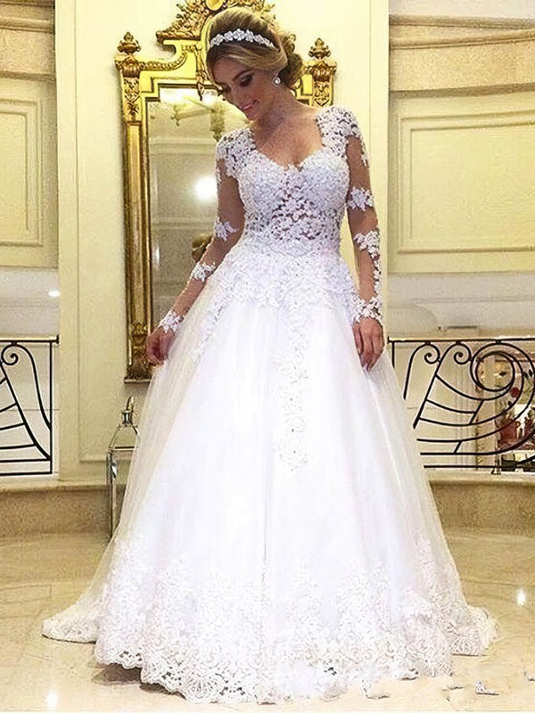 Tulle Princess Scoop Neck Sweep Train with Appliques Lace Wedding Dresses #DOB00022993