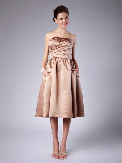 Strapless A-line Tea-length Satin Pleats Bridesmaid Dresses #DOB02013614