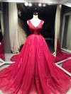 Tulle Ball Gown V-neck Court Train with Appliques Lace Wedding Dresses #DOB00022995