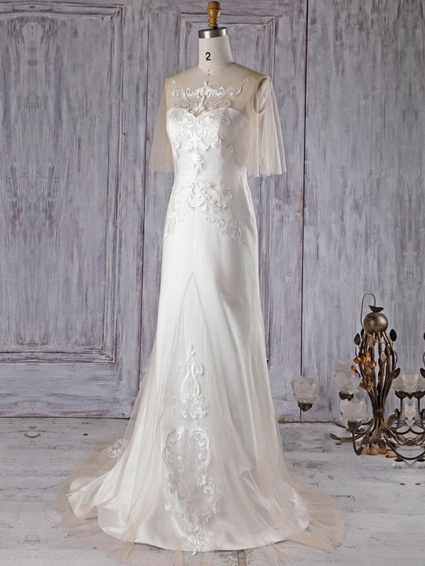 Satin Tulle Trumpet/Mermaid Scoop Neck Sweep Train with Appliques Lace Wedding Dresses #DOB00022997