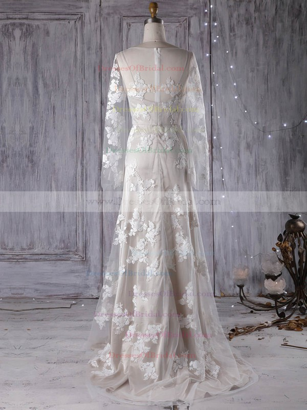 Tulle A-line V-neck Sweep Train with Appliques Lace Wedding Dresses #DOB00022999