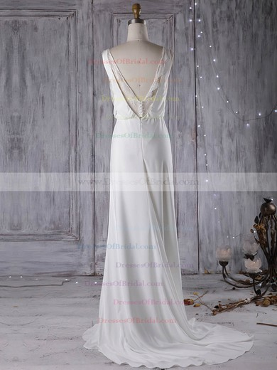 Chiffon Sheath/Column V-neck Sweep Train with Lace Wedding Dresses #DOB00023000