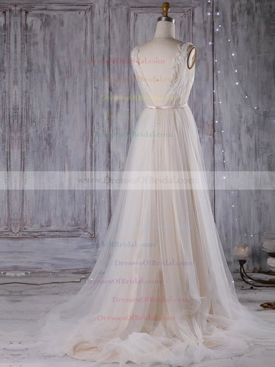 Tulle A-line V-neck Sweep Train with Sashes / Ribbons Wedding Dresses #DOB00023001