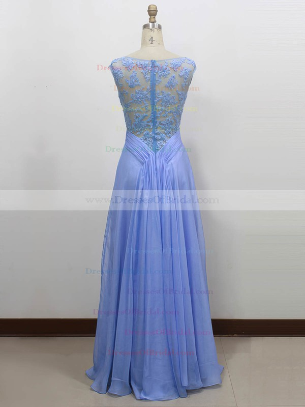 Chiffon|Tulle A-line Scoop Neck Floor-length with Appliques Lace Bridesmaid Dresses #DOB01013434