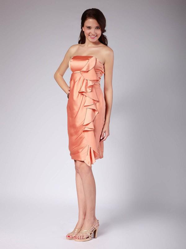 Strapless Sheath/Column Knee-length Satin Ruffles Bridesmaid Dresses #DOB02013616