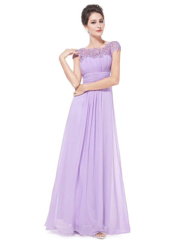 Lace|Chiffon A-line Scoop Neck Floor-length with Pleats Bridesmaid Dresses #DOB01013436