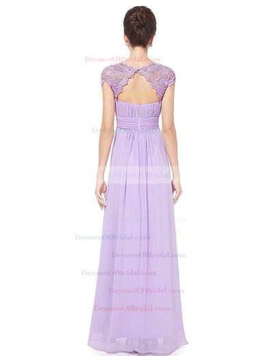 Lace|Chiffon A-line Scoop Neck Floor-length with Pleats Bridesmaid Dresses #DOB01013436