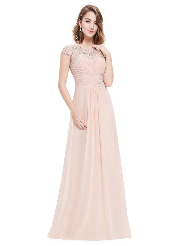 Lace|Chiffon A-line Scoop Neck Floor-length with Pleats Bridesmaid Dresses #DOB01013437