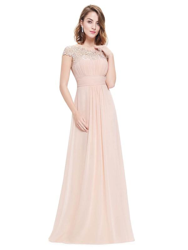 Lace|Chiffon A-line Scoop Neck Floor-length with Pleats Bridesmaid Dresses #DOB01013437