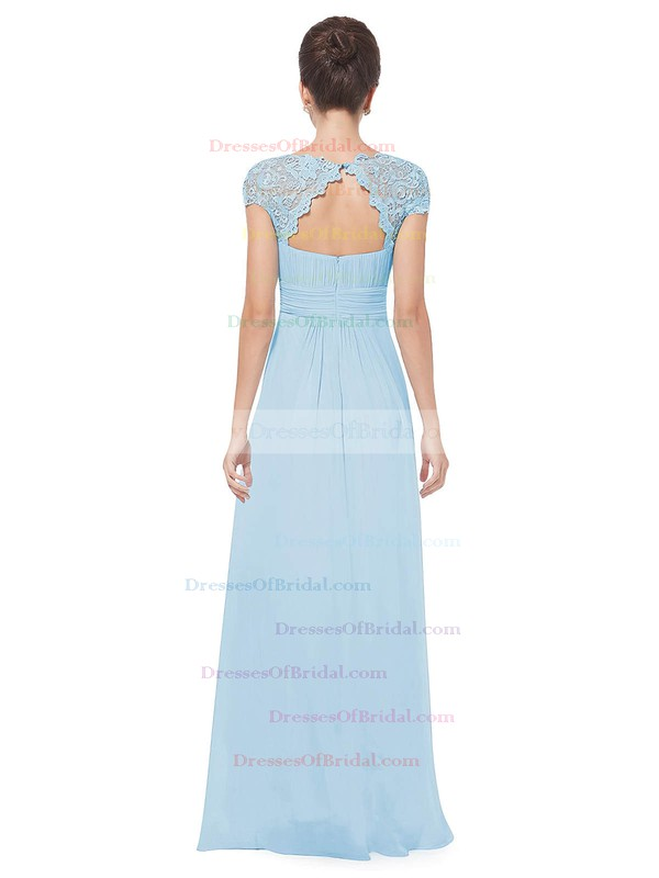 Lace|Chiffon A-line Scoop Neck Floor-length with Pleats Bridesmaid Dresses #DOB01013438