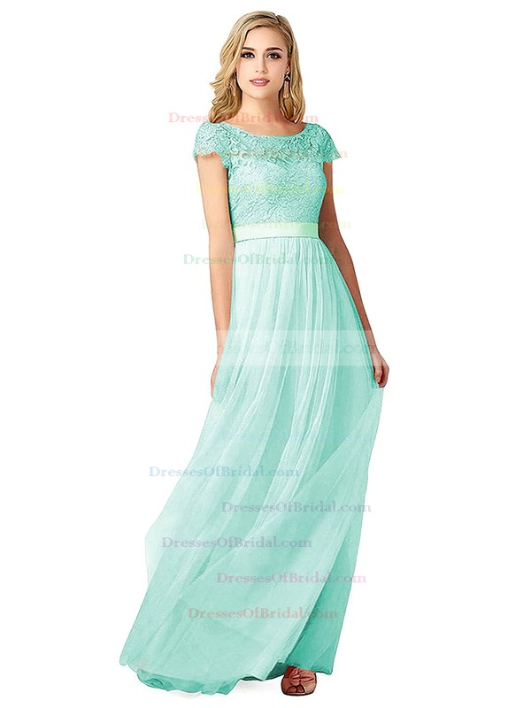 Lace|Tulle A-line Scoop Neck Floor-length with Sashes / Ribbons Bridesmaid Dresses #DOB01013439