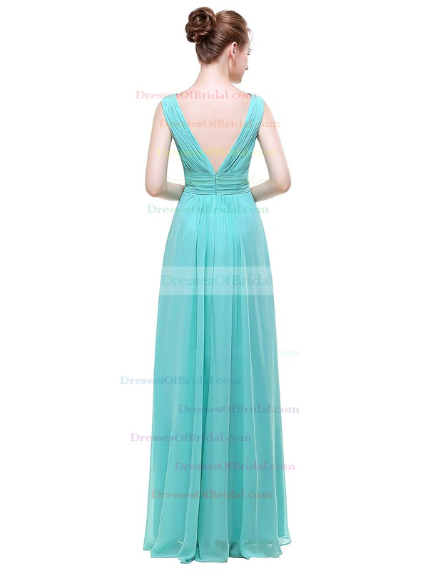 Chiffon A-line V-neck Floor-length with Beading Bridesmaid Dresses #DOB01013440