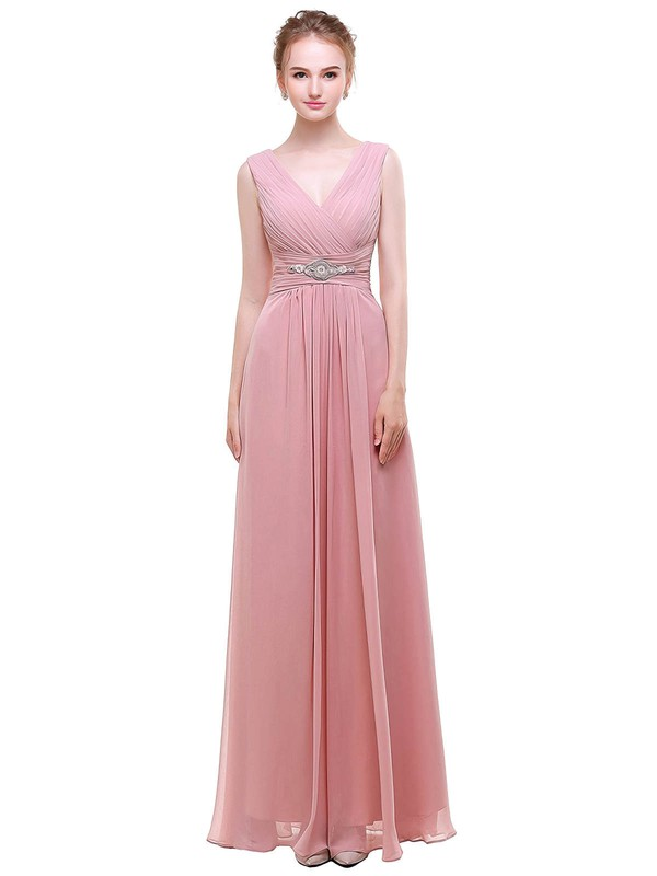 Chiffon A-line V-neck Floor-length with Beading Bridesmaid Dresses #DOB01013441