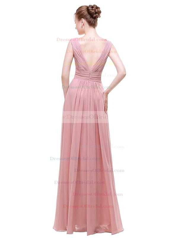 Chiffon A-line V-neck Floor-length with Beading Bridesmaid Dresses #DOB01013441
