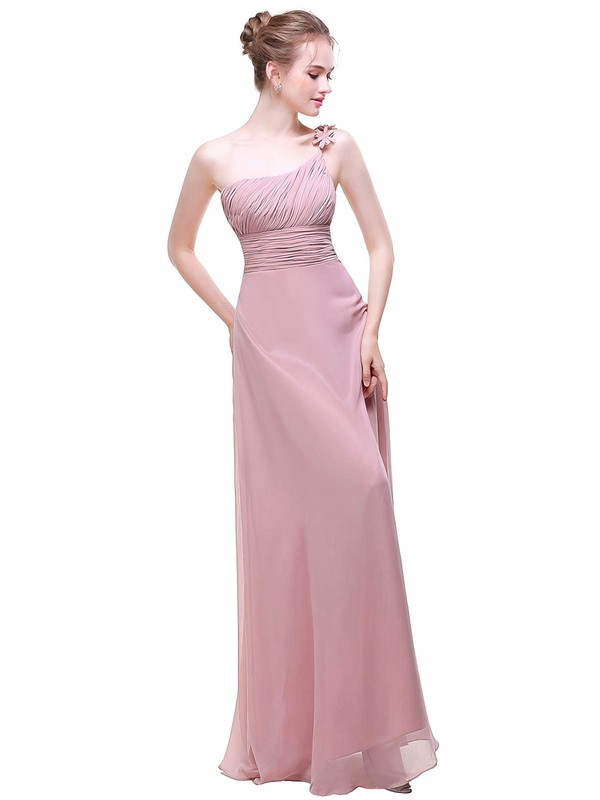 Chiffon A-line One Shoulder Floor-length with Flower(s) Bridesmaid Dresses #DOB01013442