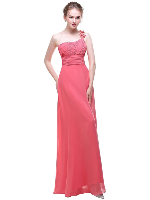 Chiffon A-line One Shoulder Floor-length with Flower(s) Bridesmaid Dresses #DOB01013443