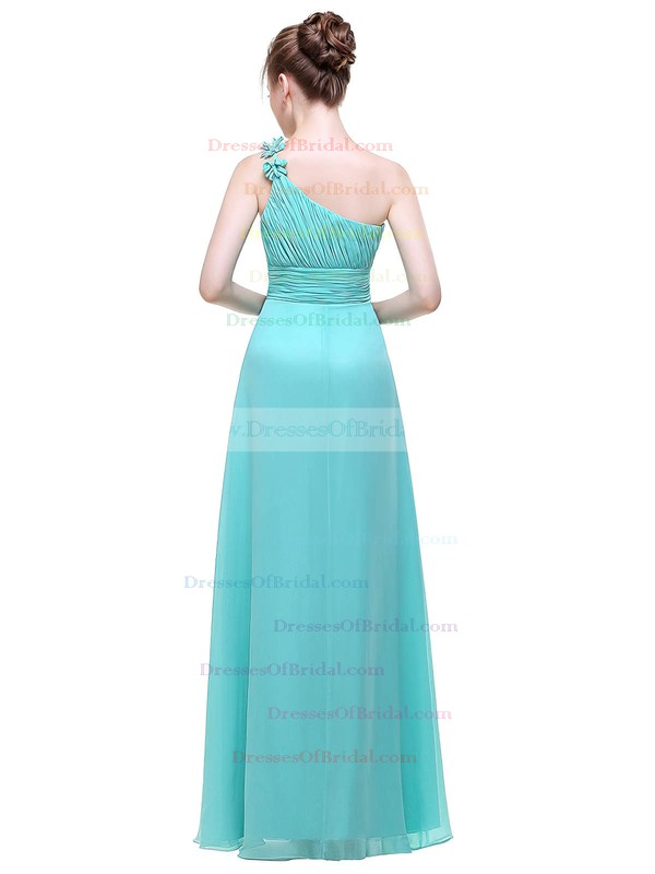 Chiffon A-line One Shoulder Floor-length with Flower(s) Bridesmaid Dresses #DOB01013444