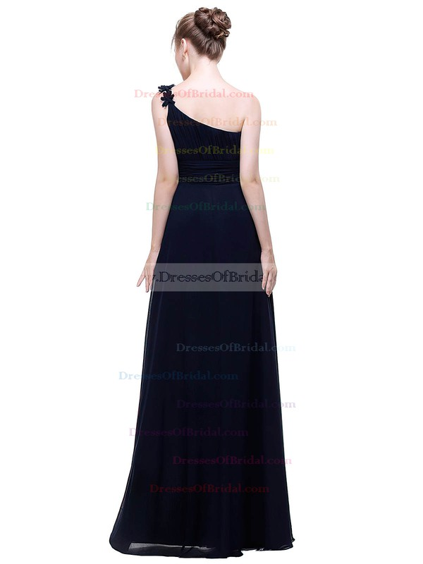 Chiffon A-line One Shoulder Floor-length with Flower(s) Bridesmaid Dresses #DOB01013445