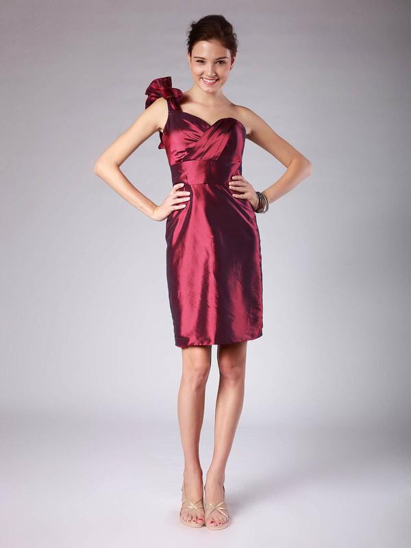 Strapless Sheath/Column Short/Mini Taffeta Pleats Bridesmaid Dresses #DOB02013620