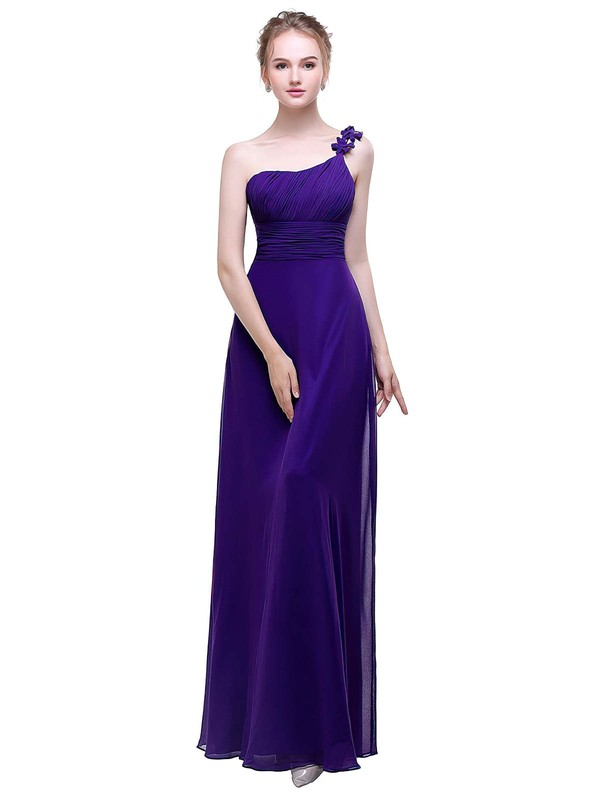 Chiffon A-line One Shoulder Ankle-length with Flower(s) Bridesmaid Dresses #DOB01013446