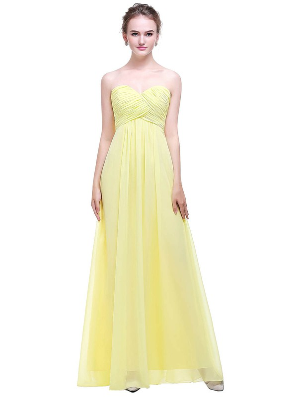 Chiffon Empire Sweetheart Floor-length with Ruffles Bridesmaid Dresses #DOB01013449