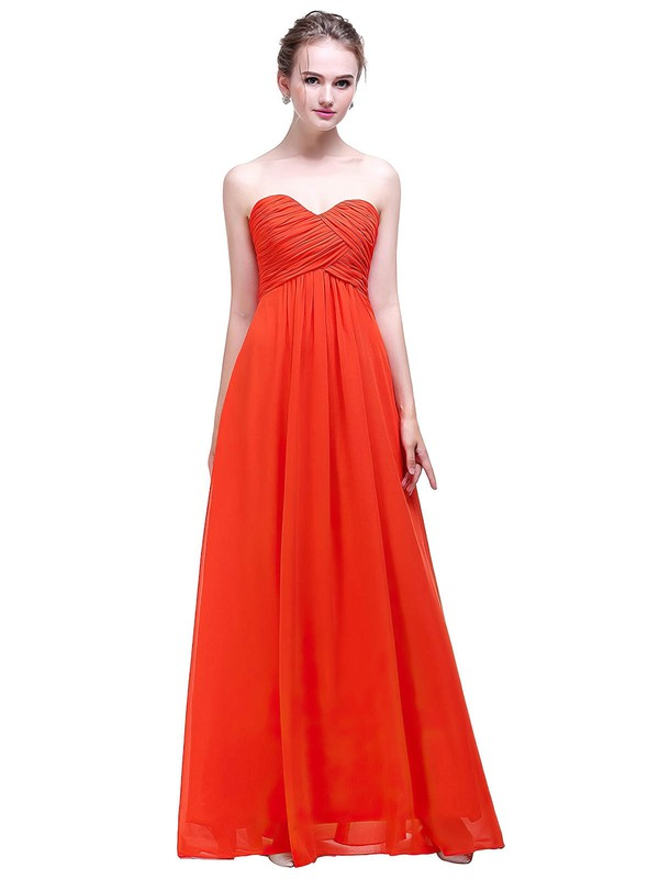 Chiffon Empire Sweetheart Floor-length with Ruffles Bridesmaid Dresses #DOB01013450