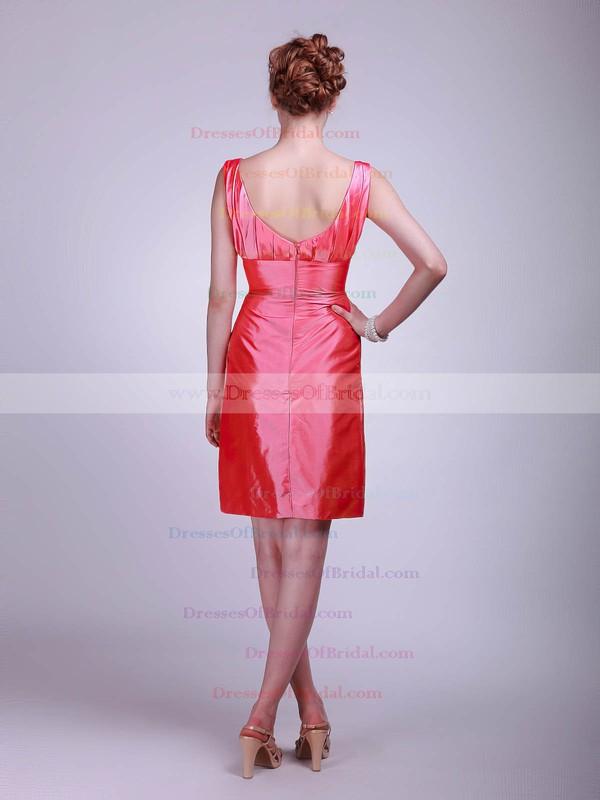 Square Sheath/Column Short/Mini Taffeta Flower(s) Bridesmaid Dresses #DOB02013623